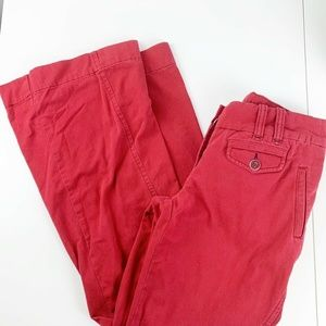 Anthropologie Et Taia Womens Pink/ Red Flare Pants